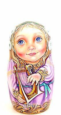 CHMELEVA exclusive MATRYOSHKA Nesting Russian Dolls 5 Music Girls & Angel Wings