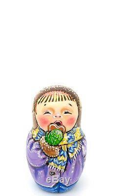 CHRISTMAS MATRYOSHKA CHMELEVA Year of the PIG Children Russian nesting dolls 5