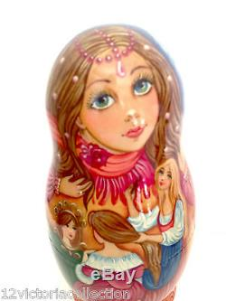 CINDERELLA Russian Hand Carved Hand Painted Nesting Doll FAIRY TALES COLLECTION