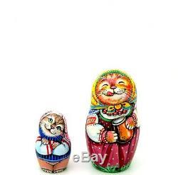 Cats Kitten MATRYOSHKA ORIGINAL Russian nesting dolls 5 BABUSHKA signed CHMELEVA