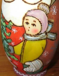 Christmas BABUSHKA SANTA FROST SNOW MAIDEN Russian nesting dolls 3 RYABOVA GIFT
