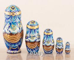 Christmas nesting dolls Snow Maiden, Russian doll with Swarovski crystals