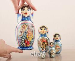 Christmas nesting dolls blue and silver Morozko, Matryoshka, Russian doll