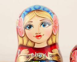 Christmas nesting dolls red and gold Nutcracker, Russian matryoshka
