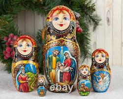Christmas nesting dolls red and golden Nativity Matryoshka, Russian doll