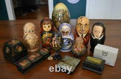 Circa 1992 Russian 7 Doll Matryoshka Nesting Doll Set #3 Fairy Tale Fable Motif