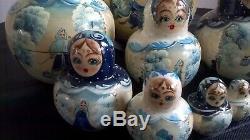 Collectable Hand Painted Blue Gold Russian Dolls Matryoshka 10 Babushka Doll Set
