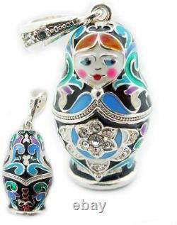 (D) Russian Souvenirs Nesting Dolls Matryoshka Enamel Pendant Silver 925 (Green)