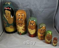 Disney Snow White & Seven Dwarfs Vintage Handmade Russian Nesting Doll Set