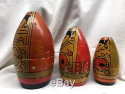 EXREMELY RARE Vintage Russian Nesting Dolls Folk Art Asian Wooden Aiguel Wood 3p