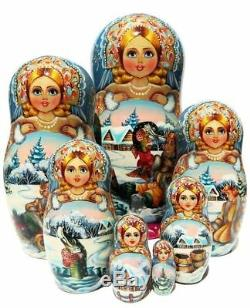 Emelya 7 Piece Russian Handmade Babushka Nesting Doll Toy Exclusive Matryoshka