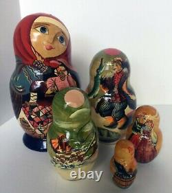 Emelya & The Pike Matryoshka Nesting Dolls Hand Painted Signed N. G. Korolyova