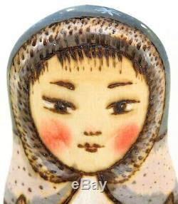 Eskimo Matryoshka Russian nesting dolls 5 HAND PAINTED by Ryabova Eskimos gift