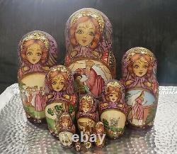 Exclusive Handmade Babushka Matryoshka Russian Stacking Nesting Dolls 10 Piece