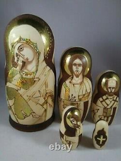 FIVE (5) RELIGIOUS RUSSIAN MOSCOW Nesting Dolls 5 BEAUTIFUL ARTWORK SIGNED