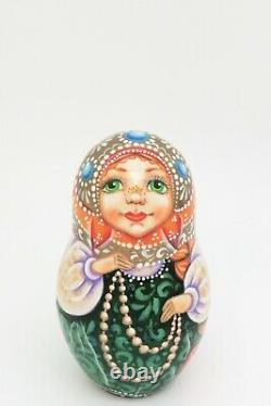 Fairy tale Scarlet Flower Russian BEAUTY & The BEAST 5 nesting dolls POKROVSKAY
