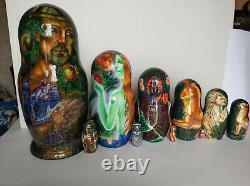 Fedoskino Lacquer Matryoshka (Russian Nesting Dolls) Garden of Eve by Makarov