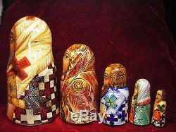 Fedoskino Lacquer Matryoshki (Russian Nesting Dolls) Saints by Eduard Makarov