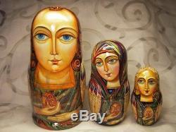 Fedoskino Matryoshki (Nesting dolls) Easter Angels by Eduard Makarov