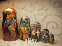 Fedoskino Matryoshki (Nesting dolls) Soul Searching by Eduard Makarov