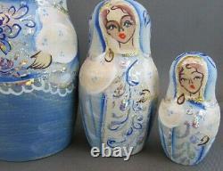 Fine Art Matryoshka Russian Nesting Dolls Signed By Artist 5 Pieces Stunning