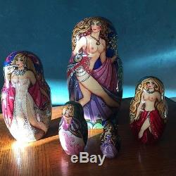 Fine Art, One Of A Kind, Rare Semi-nude Russian Nesting Dolls, Signed By Artist