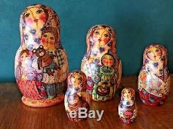 Fine Art, Unique Matryoshka, Russian Nesting Dolls, Signed By Artist, 5 Pieces