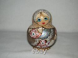 Flower Maiden Wood Burned 10 Piece Matryoshka Russian Nesting Doll Marked
