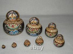 Flower Maidens Wood Burned 10 Piece Matryoshka Russian Nesting Doll Marked