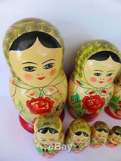 Full Set of 12 Babushka Dolls, Vintage Nesting Dolls, Russian Matryoshka Dolls
