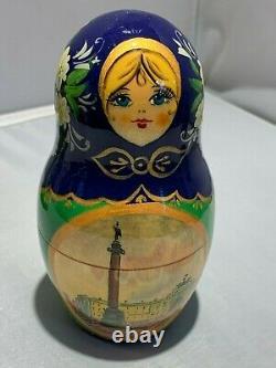 GIRL 5 Piece Russian Babushka Nesting Doll Stacking Toy Matryoshka Set