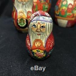G. DeBrekht Matryoshka Santa Claus Nesting Dolls Hand Painted In Russia NEW