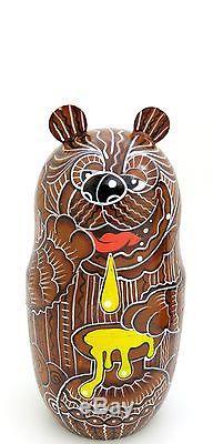 Genuine Russian BROWN BEAR FAMILY stacking dolls 5 hand painted MATT Matryoshka