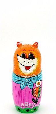 Genuine Russian HAND PAINTED 5 nesting dolls Fairy tale TEREMOK Bear Fox Rabbit