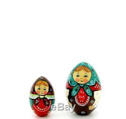 Genuine Russian nesting dolls 5 HAND PAINTED EGG Martryoshka RYABOVA Babushka