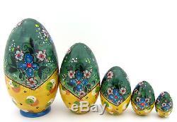 Genuine Russian nesting dolls 5 HAND PAINTED EGG Martryoshka Teddy TOYS RYABOVA