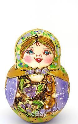 Genuine Russian nesting dolls GOLD LILAC Pyrography BIG MATRIOSHKA 10 MAMAYEVA