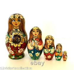 Girl with Sunflower Russian Hand Carved Painted 5 pieces Nesting Doll Set