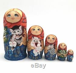 Girl with a Kitty Cat Russian Nesting DOLL Hand Painted Babushka Set