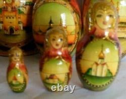 Great Detailed Russian Matryoshka nesting dolls SIGNED 7 piece Gold Accents