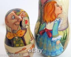 Hand Painted One of a Kind Russian Nesting Doll Alice in Wonderlandby Ilyukova