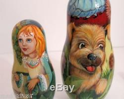 Hand Painted One of a Kind Russian Nesting Doll Alice in Wonderlandby Ilyukova