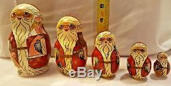 Hand Painted Set of 5 St. Nick Santa Nesting Dolls 5.5 Matryoshka Russian