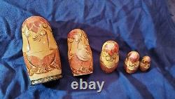 Hand Painted Vintage Lacquer Wood Russian Nesting Dolls Set of 5, 6 1/2