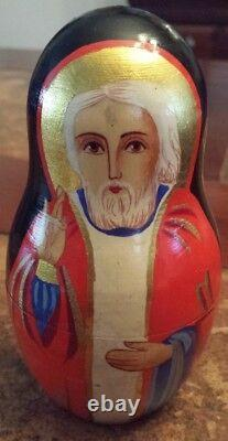 Hand Painted and Signed Russian Orthodox Nesting Doll Set 10 Gorgeous Pieces