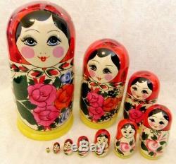 Handmade Semenov Traditional Russian Matryoshka Wooden Nesting Doll 10 Pcs Set