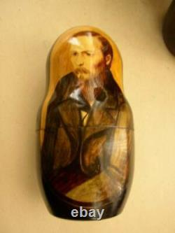 Handpainted, High End Set of 10pc Nesting Dolls- Russias Famous Poets- Authors