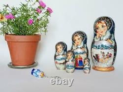 Handpainted Nesting dolls Winter Gift Matryoshka 8 1/4 5 pieces Russian dolls