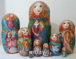 Handpainted One of Kind 10pcs Russian Nesting Doll MERMAIDS BY INNA KAMINSKAYA