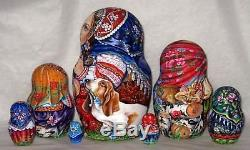 Handpainted Only one 7p Russian Nesting Doll Little Girl withall Pets, Chmelyova